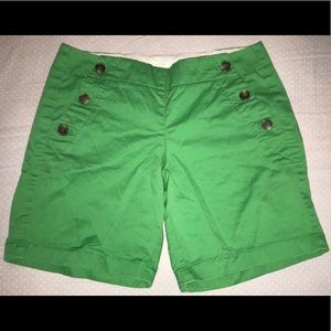 "Green 5"" J.Crew shorts, size 0."